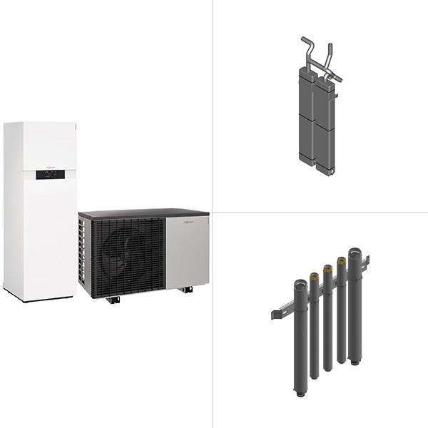 Viessmann Vitocal 222-A, Luft/Wasser-Wärmepumpe in Monoblock-Ausführung mit Vitocell 100-E
