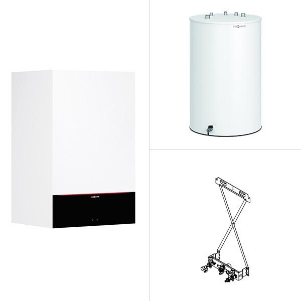 Viessmann Vitodens 200-W, Gas-Brennwertheizgerät, Vitocell 100-W Standspeicher untergestellt