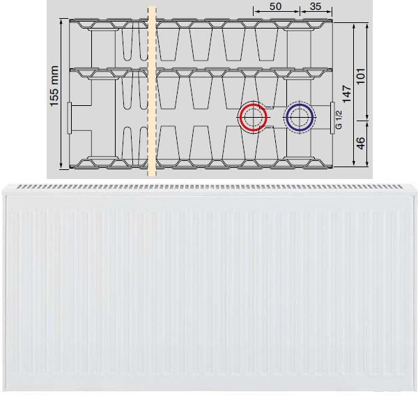 Viessmann Universalheizkörper Typ 33, dreireihig drei Konvektoren